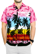 Load image into Gallery viewer, la-leela-hawaiian-shirt-for-men-short-sleeve-front-pocket-beach-palm-tree-Pink