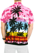 Load image into Gallery viewer, LA LEELA Hawaiian Shirt for Men Short Sleeve Front-Pocket Beach Palm Tree pink