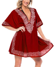 Load image into Gallery viewer, la-leela-bikni-swimwear-rayon-solid-blouse-cover-ups-women-osfm-10-16-m-1x-red_2694