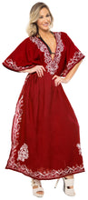 Load image into Gallery viewer, la-leela-pv-solid-long-caftan-beachwear-dress-girls-red_909-osfm-14-18w-l-2x