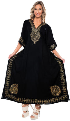 la-leela-lounge-rayon-solid-long-caftan-nightgown-women-OSFM 14-18W [L- 2X]-Halloween Black_L441