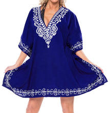Load image into Gallery viewer, LA LEELA Bikni Swimwear Rayon Solid Sundress Womens Cover Up OSFM 10-16 [M-1X] royal Blue_2826