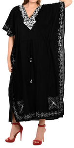 LA LEELA Lounge Rayon Solid Long Caftan Nightgown Women OSFM 16-32W [XL- 5X] Halloween Black_J816