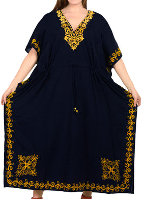 la-leela-lounge-rayon-solid-long-caftan-nightgown-women-OSFM 16-32W [XL- 5X]-Navy Blue_J815