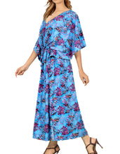 Load image into Gallery viewer, la-leela-likre-digital-long-caftan-vacation-girls-blue_760-osfm-14-22w-l-3x-blue_i162