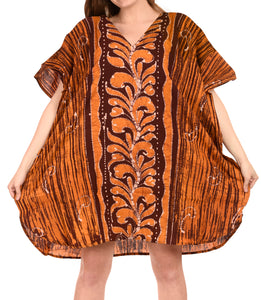 LA LEELA Cotton Batik Short Caftan Dress Women Brown_1584 OSFM 14-18W [L-2X] Brown_I132