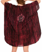 Load image into Gallery viewer, la-leela-cotton-batik-caftan-beach-dress-vacation-top-maroon_1441-osfm-14-18w