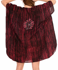 LA LEELA Cotton Batik Caftan Beach dress Vacation Top Maroon_1441 OSFM 14-18W
