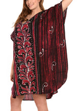 Load image into Gallery viewer, LA LEELA Cotton Batik Caftan Beach dress Vacation Top Maroon_1441 OSFM 14-18W