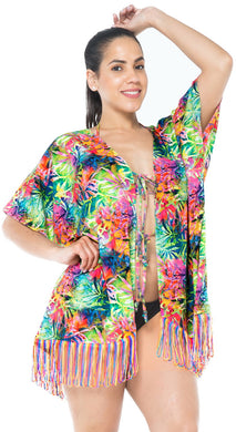 LA LEELA Digital HD  Kimono Cardigan Cover Up OSFM 14-18 [L-2X]Multicolor_1781 Multicolor_I57