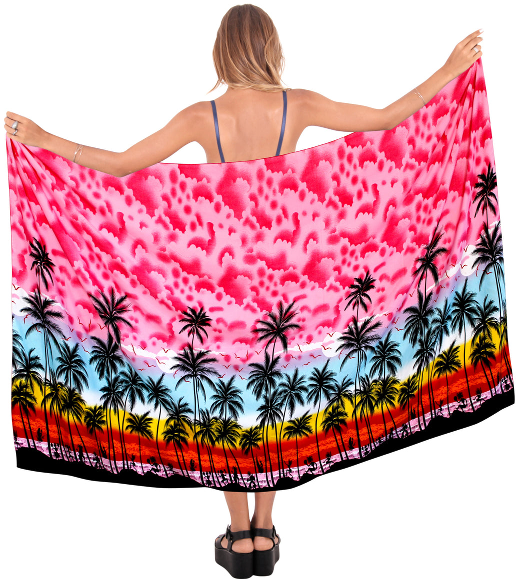 la-leela-swimwear-soft-light-women-bathing-suit-swimsuit-sarong-Palm-Tree-printed-Pink