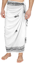 Load image into Gallery viewer, la-leela-men-sarong-rayon-solid-hawaiian-swimsuit-wrap-casual-boys-72x42-white_4061