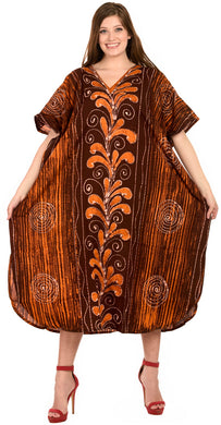 LA LEELA Cotton Batik Printed Women's Kaftan Kimono Summer Beachwear Cover up Dress  Brown_D315