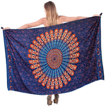 Load image into Gallery viewer, la-leela-rayon-women-swimsuit-cover-up-sarong-printed-78x39-royal-blue_4916-blue_d296