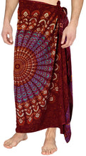 Load image into Gallery viewer, la-leela-men-sarong-rayon-printed-swimwear-casual-beach-pareo-mens-wrap-72x42-maroon_4934