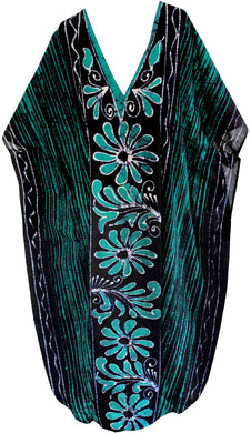 la-leela-100%-cotton-batik-womens-kaftan-kimono-summer-beachwear-cover-up-dress-Green