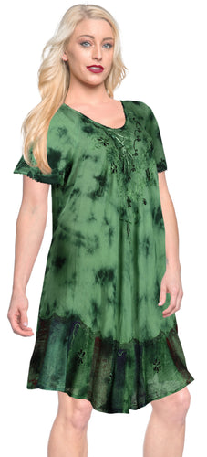 LA LEELA Rayon Tie Dye Maxi Wedding Designer Casual DRESS Beach Cover upes Green 3403 Plus Size