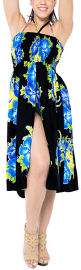 LA LEELA Evening Beach Swimwear Soft Printed Top Womens Skirt Strapless Tube Dress Blue 854 One Size