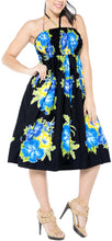 Load image into Gallery viewer, LA LEELA Evening Beach Swimwear Soft Printed Top Womens Skirt Strapless Tube Dress Blue 854 One Size