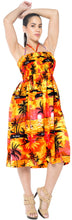 Load image into Gallery viewer, LA LEELA Evening Beach Swimwear Soft  Printed Short Beach Cover Up Tube Dress Orange 894 One Size