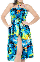 Load image into Gallery viewer, la-leela-evening-beach-swimwear-soft-printed-casual-tube-dress-women-swimsuit-teal-blue-895-one-size