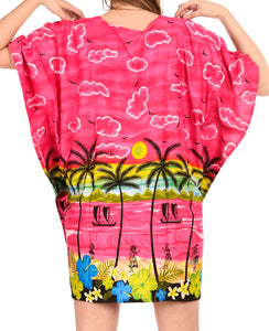 LA LEELA Swimwear Soft fabric Printed Swimsuit Bikini Cover Up OSFM 14-28 [L-4X] Pink_1919