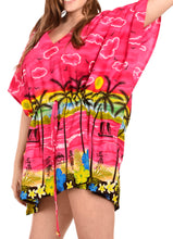 Load image into Gallery viewer, LA LEELA Swimwear Soft fabric Printed Swimsuit Bikini Cover Up OSFM 14-28 [L-4X] Pink_1919