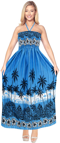 LA LEEL Beach Swimwear Soft Printed Tube Dress Strap Beachwear Women Bright Blue 332 One Size