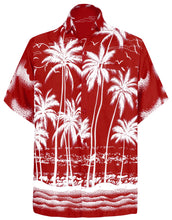 Load image into Gallery viewer, LA LEELA Men Casual Friday Beach hawaiian Shirt for Aloha Tropical Beach front Short sleeve Red
