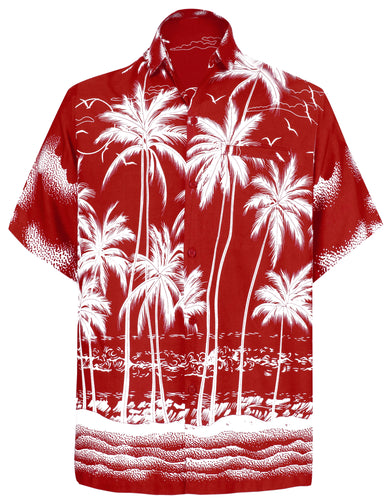 LA LEELA Men Casual Friday Beach hawaiian Shirt for Aloha Tropical Beach front Short sleeve Red
