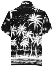 Load image into Gallery viewer, la-leela-mens-casual-beach-hawaiian-shirt-for-aloha-tropical-beach-front-pocket-short-sleeve-pocket-black