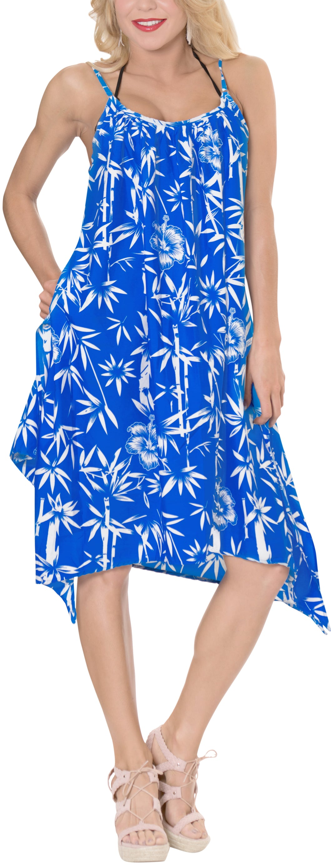 La Leela Likre Printed womens swimwear swimsuit bikini kimono cover up Lounge Office wear B_Blue Pinted