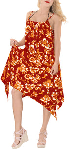la-leela-bikni-swimwear-soft-fabric-printed-beachwear-loose-cover-up-OSFM 14-16W [L- 1X]-Blood Red_K276
