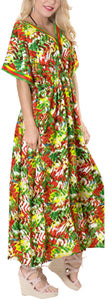 LA LEELA Lounge Rayon Printed Long Caftan Swimwear Dress Green_564 OSFM 10-16W [M-1X]