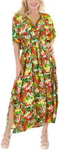 Load image into Gallery viewer, LA LEELA Lounge Rayon Printed Long Caftan Swimwear Dress Green_564 OSFM 10-16W [M-1X]