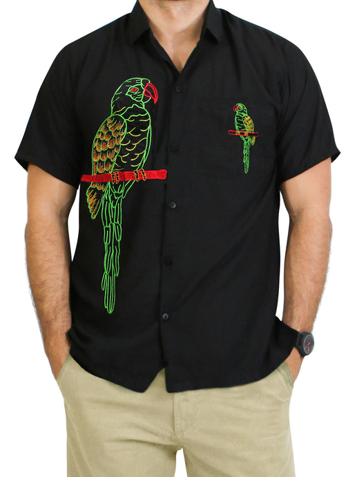 la-leela-mens-beach-hawaiian-casual-aloha-button-down-short-sleeve-shirt-Halloween Black_W857