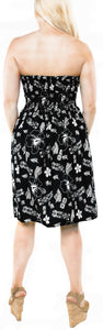 LA LEELA Women's Printed Maxi Tube Halter Dress Top Women One Size Black_I623