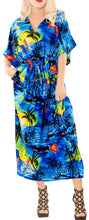 Load image into Gallery viewer, la-leela-lounge-likre-printed-long-caftan-drawstring-dress-blue_665-osfm-14-22w-l-3x