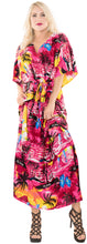 Load image into Gallery viewer, la-leela-lounge-likre-printed-long-caftan-tunic-dress-women-pink_666-osfm-14-22w-l-3x