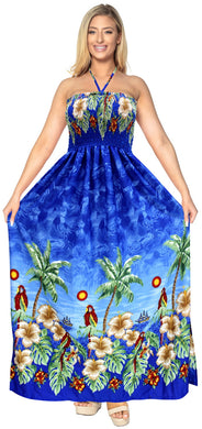 LA LEELA Evening Beach Swimwear Soft Printed Maxi Tube Dress Halter Swimwear Royal Blue 345 One Size