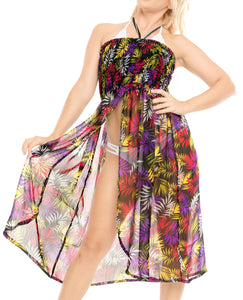 LA LEELA Evening Beach Swimwear Chiffon Printed Maxi Wedding Designer Dresses Multi 1277 One Size