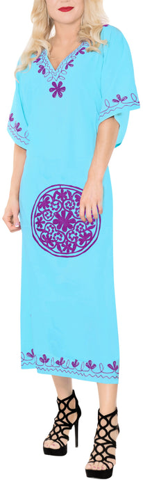 Women's Long Beach Designer Rayon Swimwear Swimsuit Cover up Caftan Turquoise Blue Violet Embroidery TOP 136730