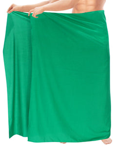"LA LEELA Rayon Solid Casual Beachwear Swimwear Wrap Mens 72""X42"" Dark Green_3971"