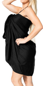 "LA LEELA Rayon Cover Up Suit Womens Beach Sarong Solid 88""X42"" Black_3963 Black_V467"