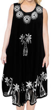 Load image into Gallery viewer, la-leela-casual-dress-beach-cover-up-rayon-batik-aloha-beach-women-top-floral-black-525-plus-size