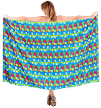 "Load image into Gallery viewer, La Leela Soft Light Swimwear Wrap Pareo Long Swimsuit Sarong Printed 78""X39"" Blue_7239"