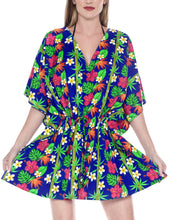Load image into Gallery viewer, la-leela-likre-printed-womens-swimwear-swimsuit-bikini-kimono-cover-up-lounge-office-wear-hawaii-blue