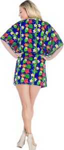 La Leela Likre Printed womens swimwear swimsuit bikini kimono cover up Lounge Office wear Blue