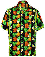 Load image into Gallery viewer, la-leela-mens-regular-size-pocket-beach-hawaiian-shirt-for-aloha-tropical-beach-front-pocket-short-sleeve-black