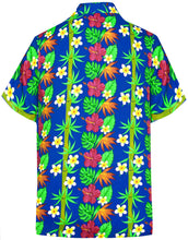 Load image into Gallery viewer, la-leela-front-pocket-mens-casual-beach-hawaiian-shirt-for-aloha-tropical-beach-front-pocket-short-sleeve-blue